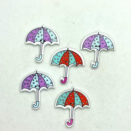 5 boutons en bois fantaisie - parapluie - 34x31mm - bri629