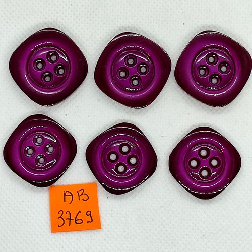 6 boutons en résine violet - 25x25mm - ab3769