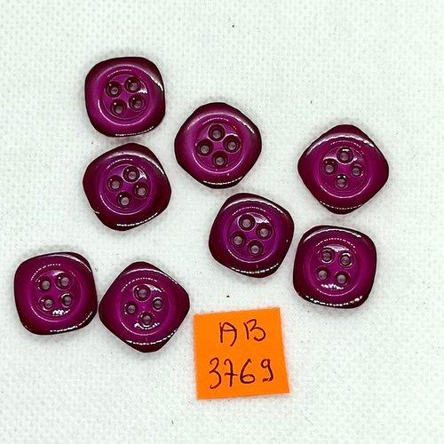 8 boutons en résine violet - 16x16mm - ab3769