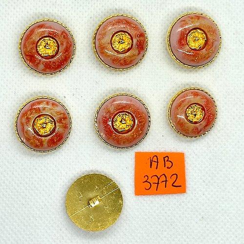 7 boutons en résine rose et doré - 20mm - ab3772