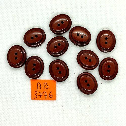 11 boutons en résine marron - 15x18mm - ab3876