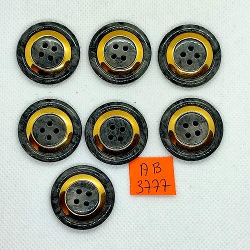 7 boutons en résine gris et doré - 28mm - ab3877