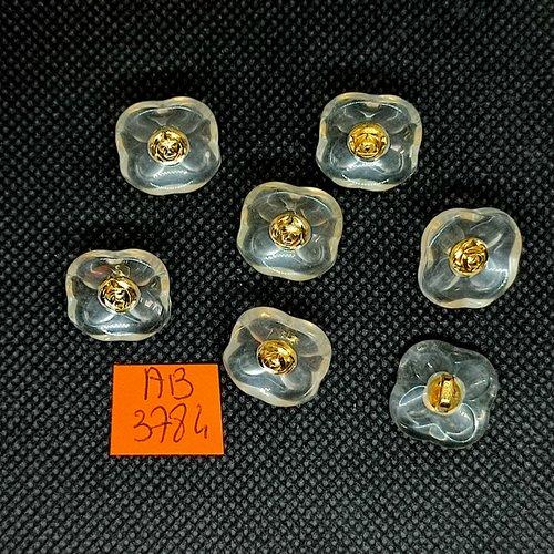 7 boutons en résine transparent et doré - 16x16mm - ab3784