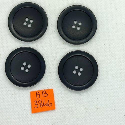 4 boutons en résine noir - 31mm - ab3846