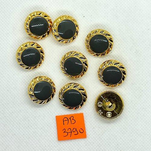 9 boutons en résine gris et doré - 19mm - ab3790
