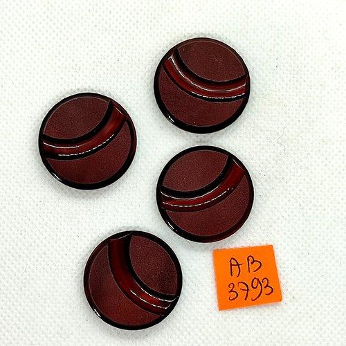 4 boutons en résine marron - 28mm - ab3793