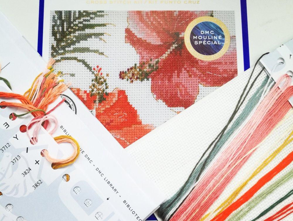 Kit point de croix aquarelle hibiscus