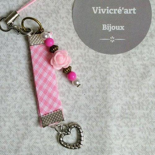 Bijoux  de téléphone portable -  rose et coeur