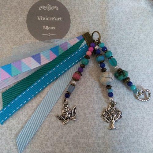 Bijoux de sac  - turquoise , bleu , anges
