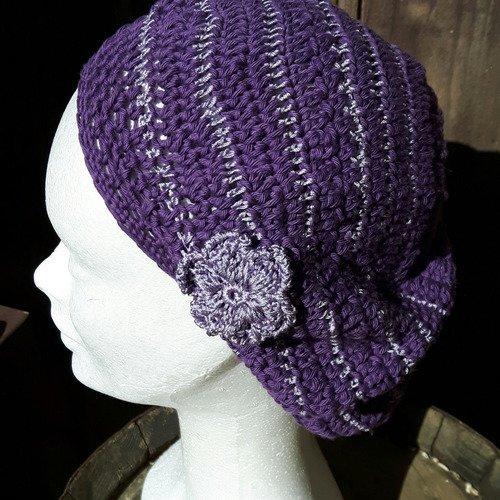Beret violet mauve parme en coton soie