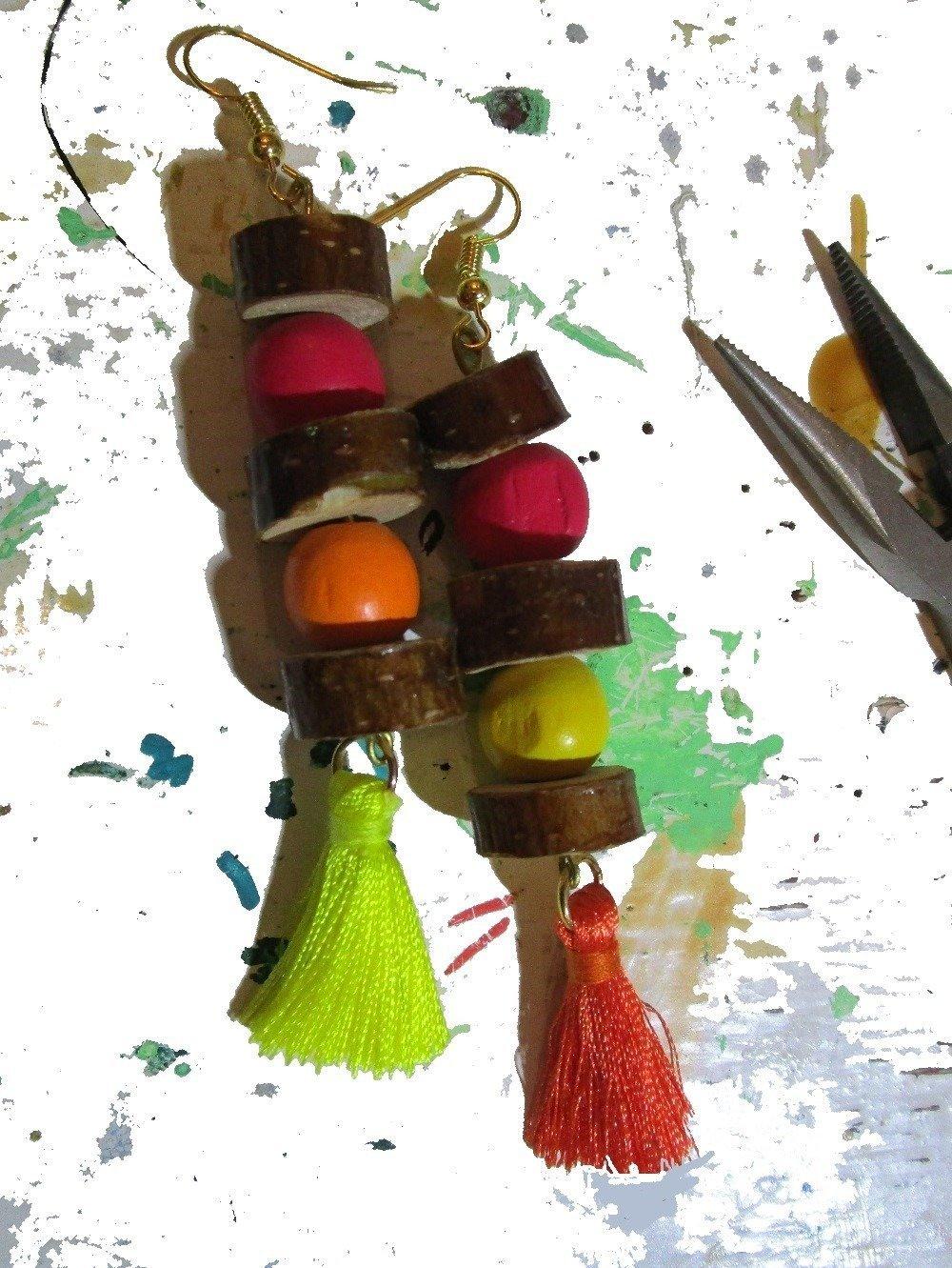 Boucles d'oreille ethniques, orange, jaune, rouge, assymétriques, pendants d'oreilles, nature, up