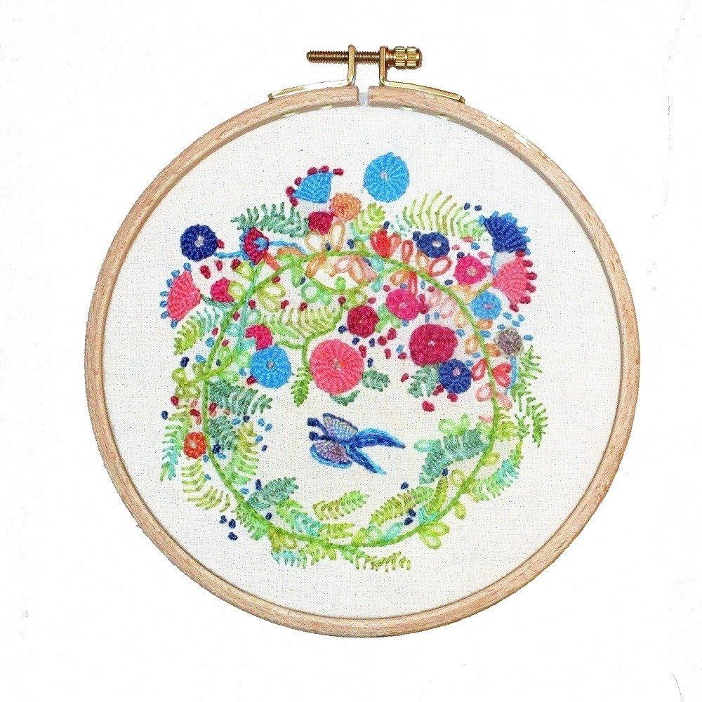 Décoration, murale, broderie fait-main, tableau, décoration de porte, printemps, bienvenue, greenery