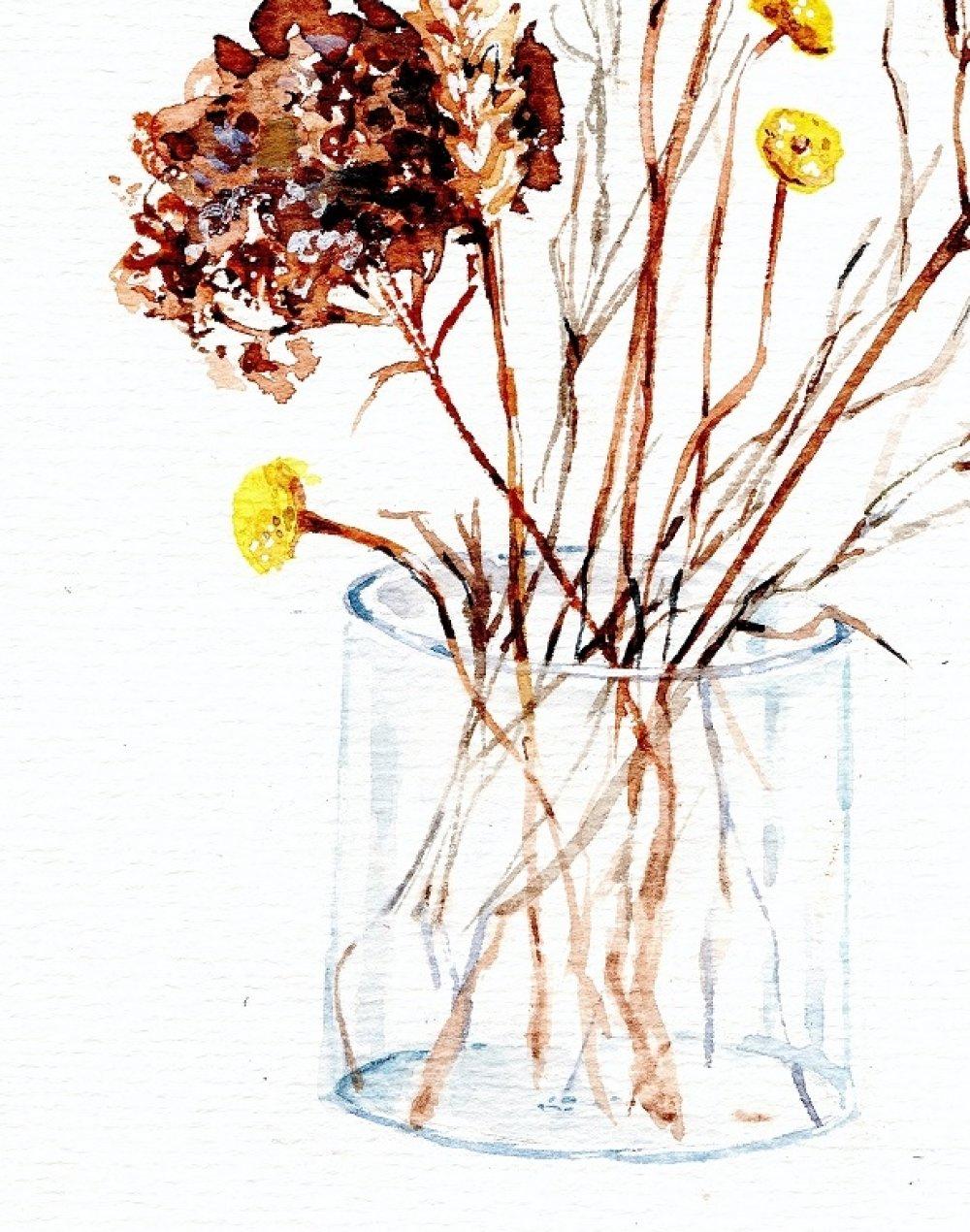 Aquarelle, peinture, tableau, fleur, botanique, pour sous-verre.
