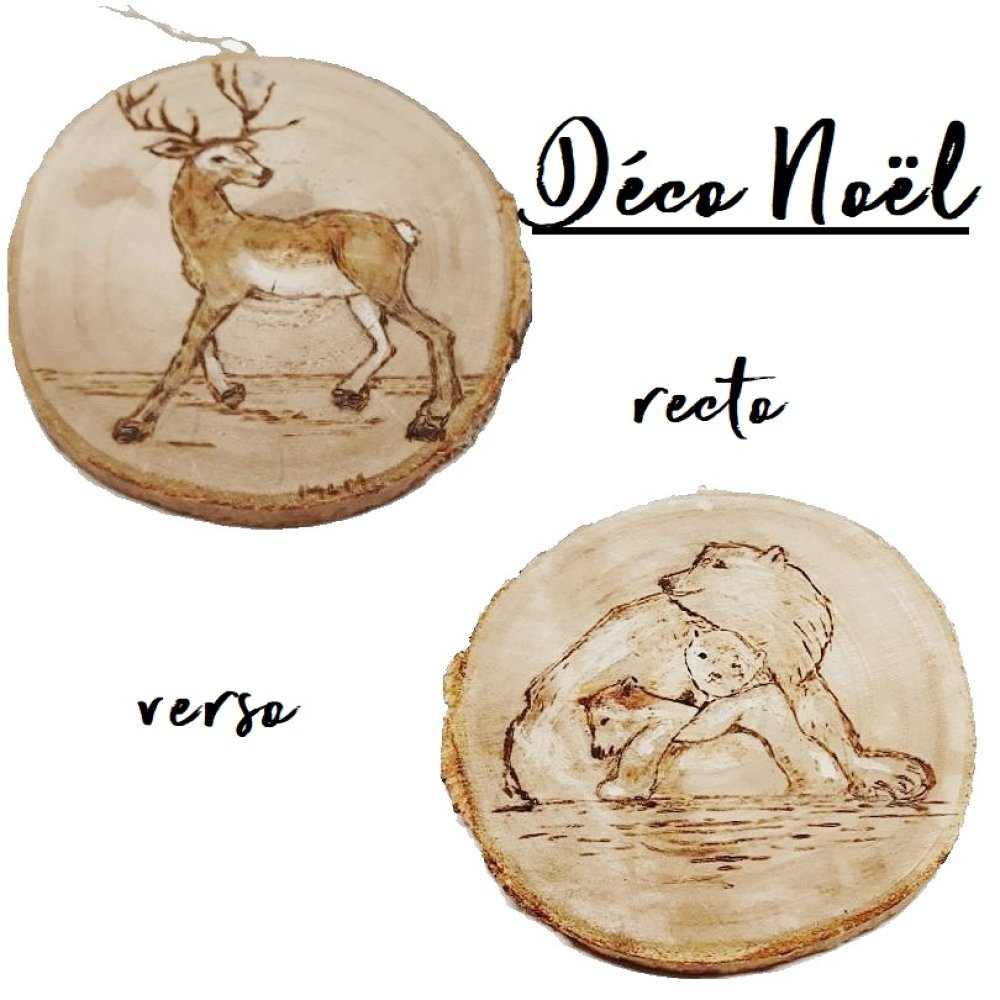 Deco Noel En Bois Naturel boule noël, déco noël, bois naturel, ours, renne
