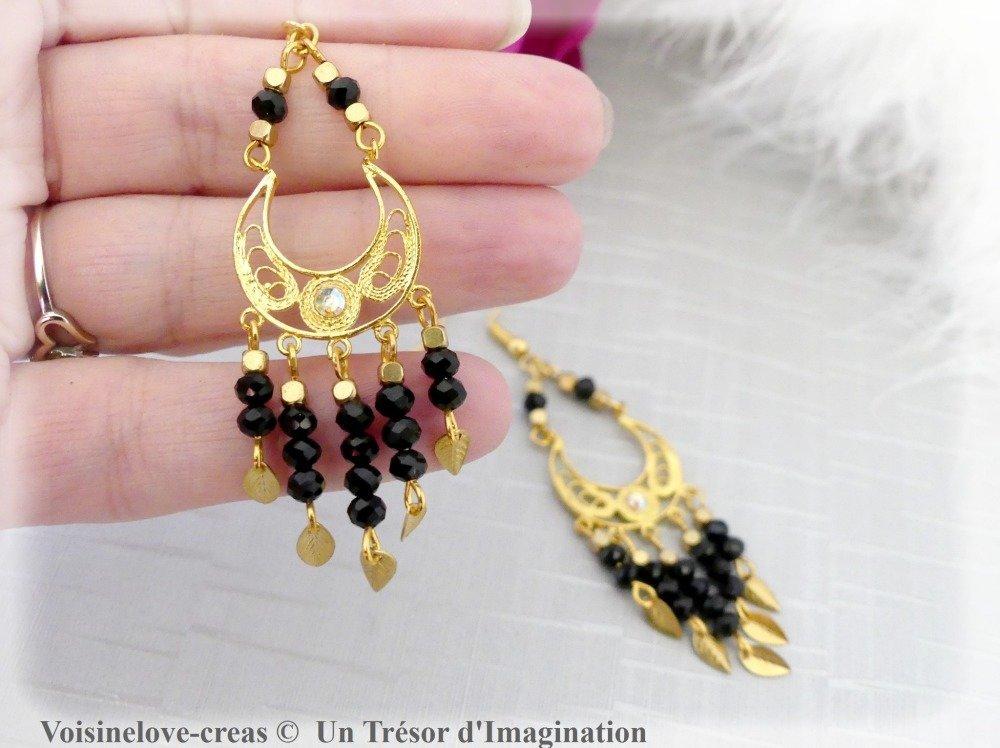 Boucles d'oreilles ethnique boho chic doré et noir