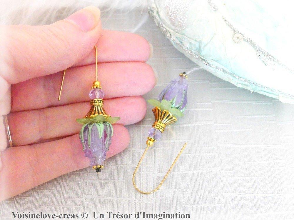 Boucles d'oreilles fleur de printemps en perles atrisanales