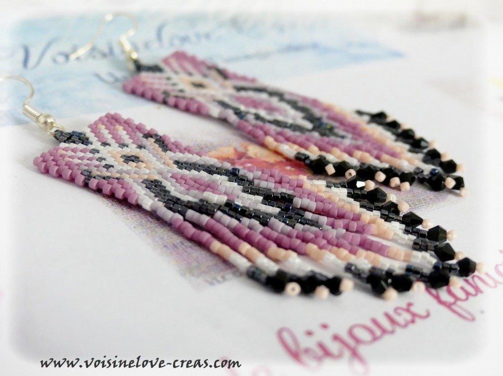 Boucles d'oreilles tissage perles boho chic romantique