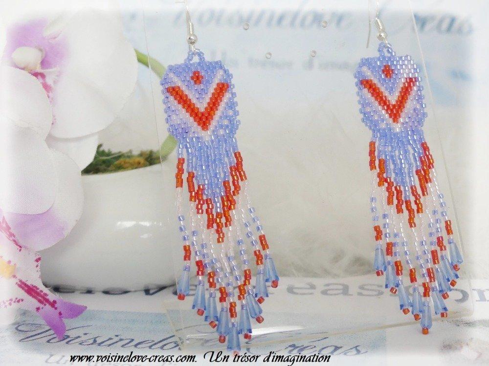 Boucles d'oreilles ethnique boho chic tissage de perles