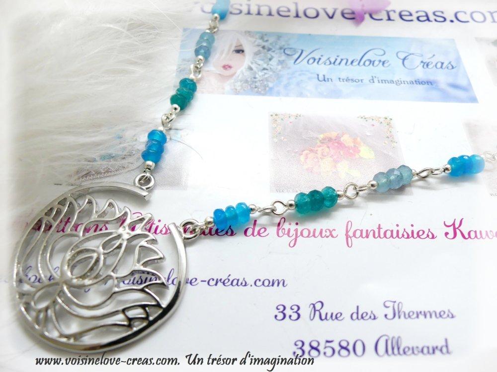 Collier fleur de Lotus Zen Jade et agate bleu/vert