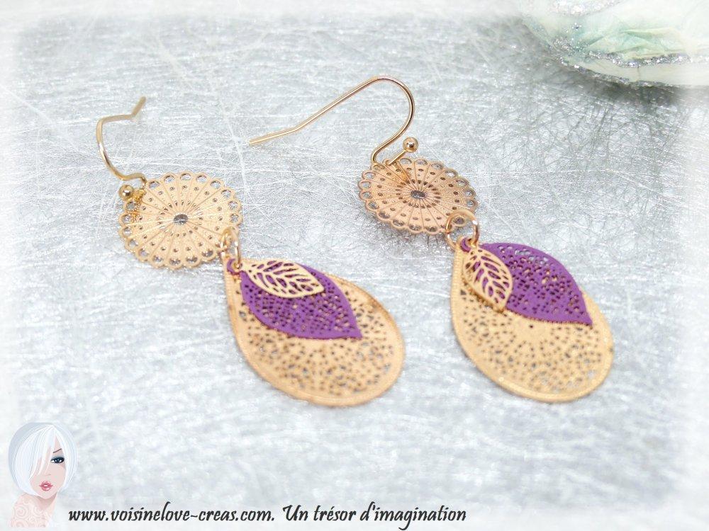 Boucles d'oreilles minimaliste style orientale or rose