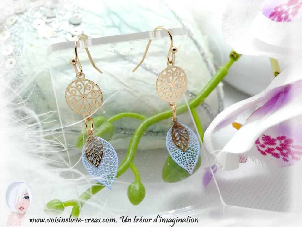 Boucles d'oreilles minimaliste romantique chic rose doré