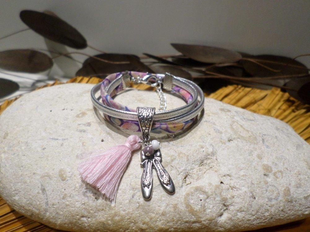 bracelet fille - bracelet cuir cordon liberty ballerine danseuse bijou idée cadeau fille anniversaire