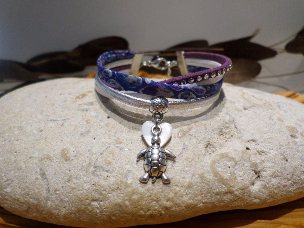 Bracelet liberty fille avec tortue argenté, manchette cuir - Bijou cadeau enfant, 8 ans à 10 ans