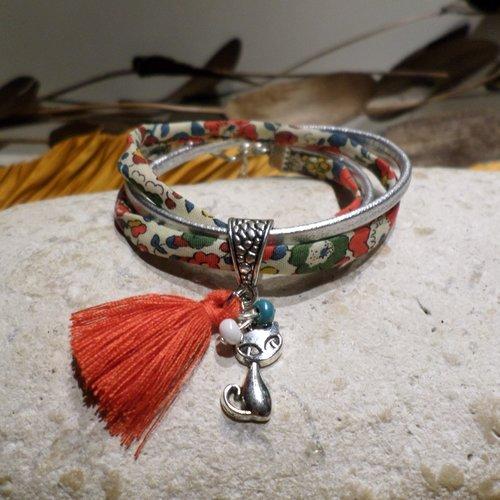 Bracelet chat cuir beige et cordon liberty multicolore, bijou original idée cadeau