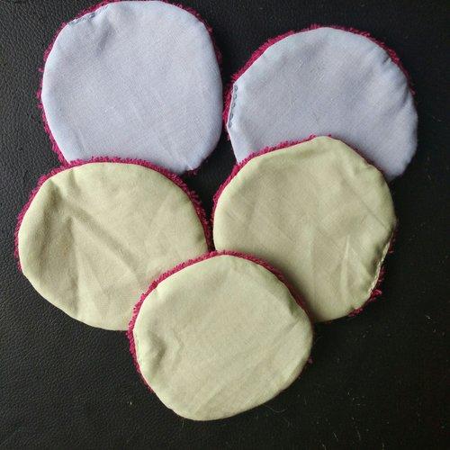 Lot de 5 disques démaquillants dont 2 bleu/rose et 3 vert/rose