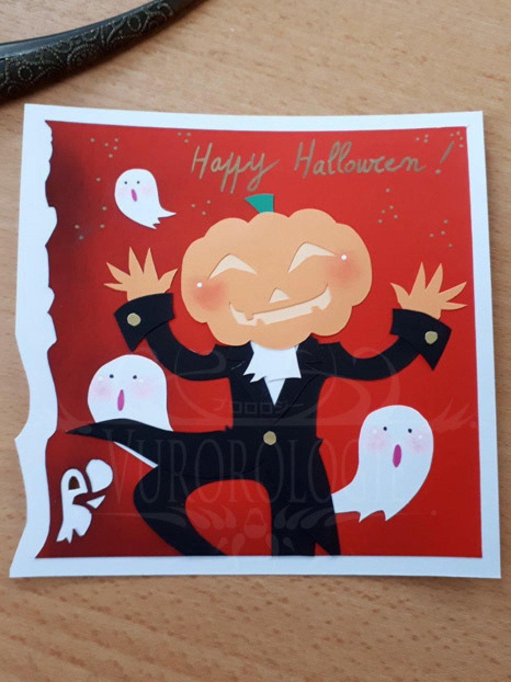 "Carte carrée ""Happy Halloween"" avec Jack'O Lantern"