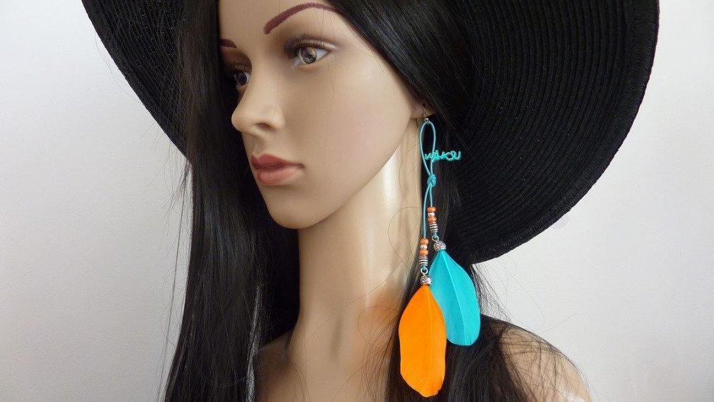 Boucles d'oreille cuir, plumes et perles