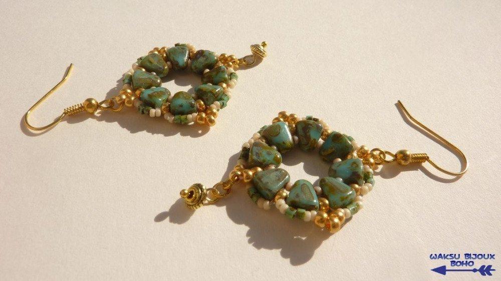 Boucles d'oreille en perles de verre Tchèque