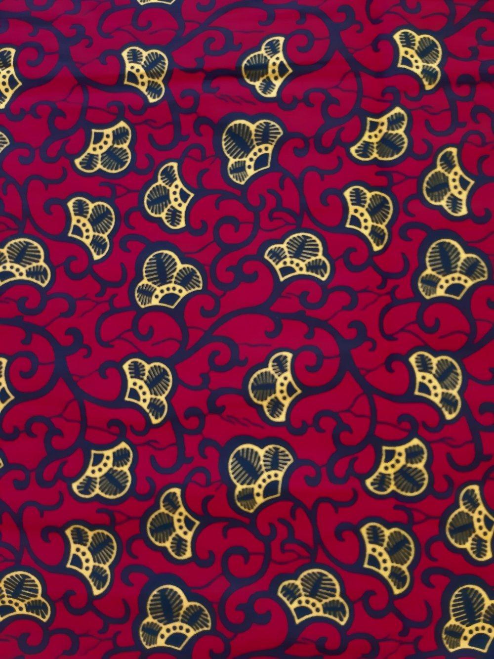 Tissu wax - par 50 centimètres - petites fleurs jaunes sur fond rouge - 100% coton - Tissu africain - pagne