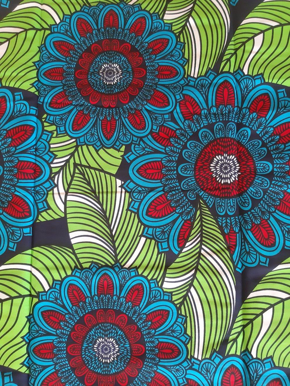 Tissu wax - par 50 centimètres - grandes rosaces bleues et vertes - 100% coton - Tissu africain - pagne