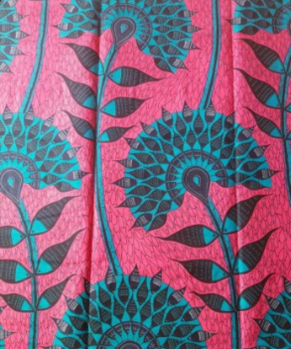 Tissu wax - par 50 centimètres - très grandes fleurs vert canard sur fond fuchsia- 100% coton - Tissu africain - pagne