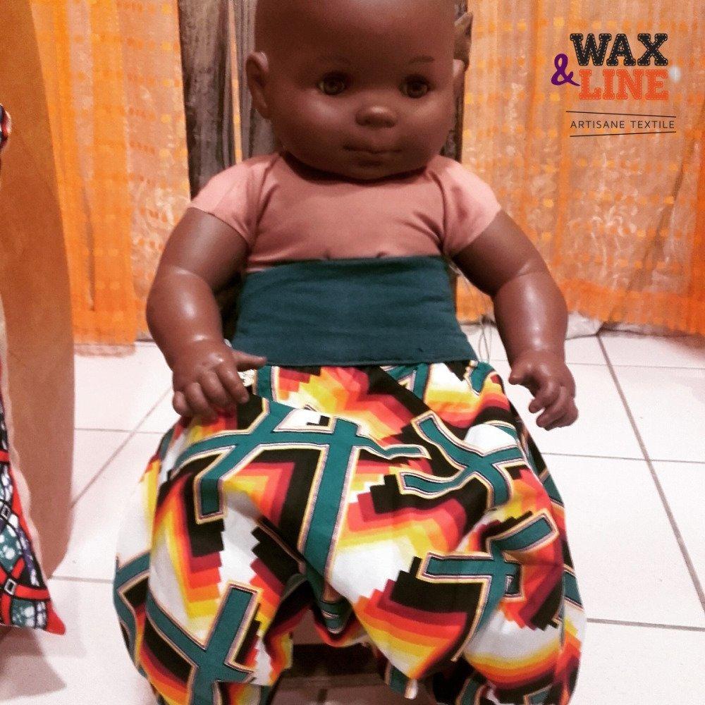 Sarouel bébé évolutif 3-9 mois en wax psychédélique