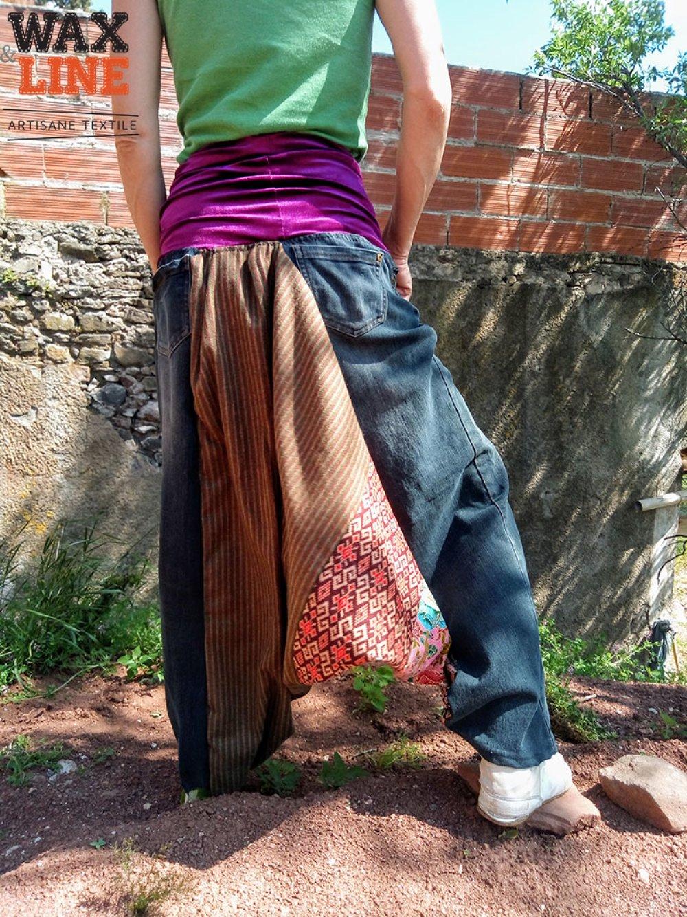 Sarouel femme mixé de jean et wax flashy, taille 38-42, Wax&Line