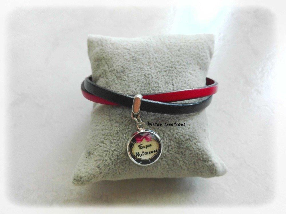 bracelet cuir femme rouge