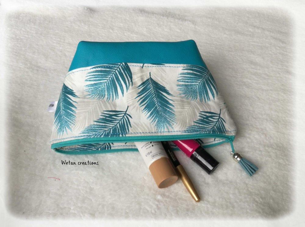 Vendu-Trousse maquillage cuir et coton, trousse de voyage, médicaments, fourre-tout en cuir turquoise et coton plumes turquoise