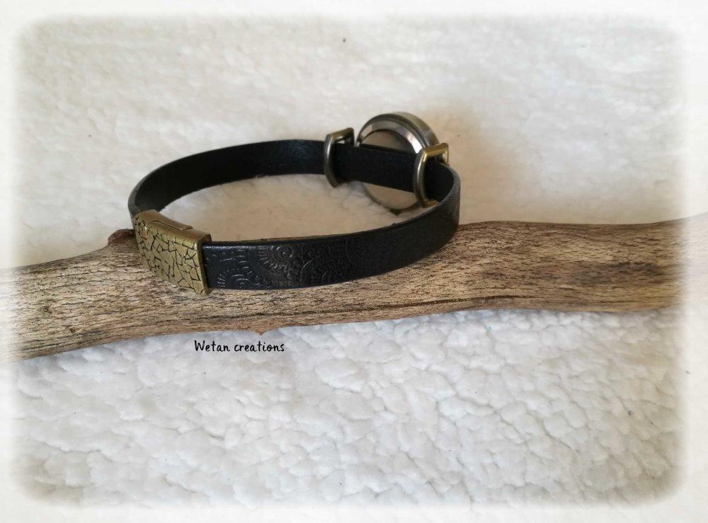 Montre cuir homme en cuir noir à motifs-  fermoir magnétique