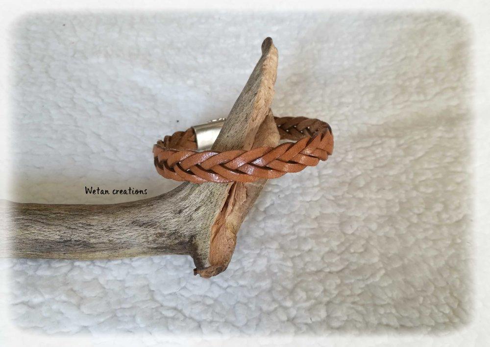 Bracelet homme en cuir tressé marron clair- fermoir magnétique- sur mesure