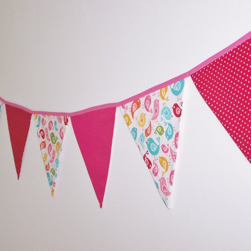 Guirlande de fanions - thème zozios - biais rose clair