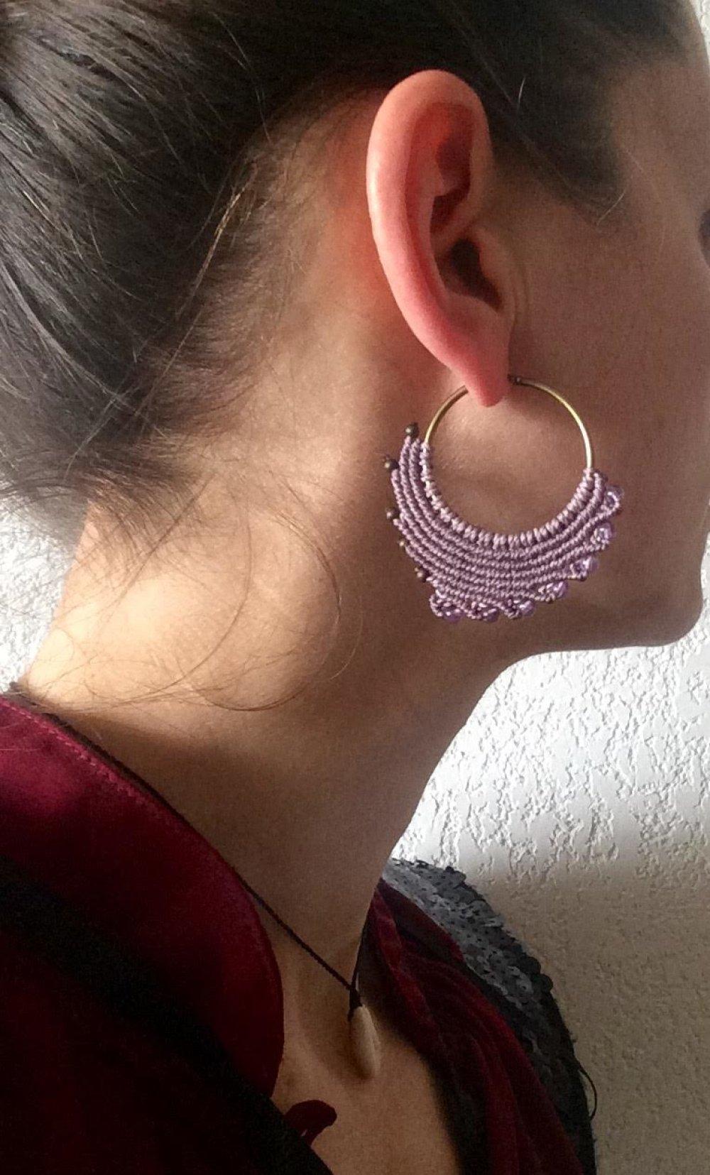 Boucles d'oreille micro macramé