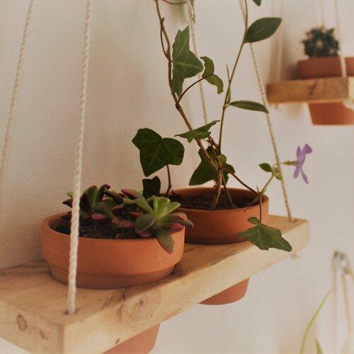Etagère (+2 pots) suspendue en bois recyclé. plantes. plantes suspendues.