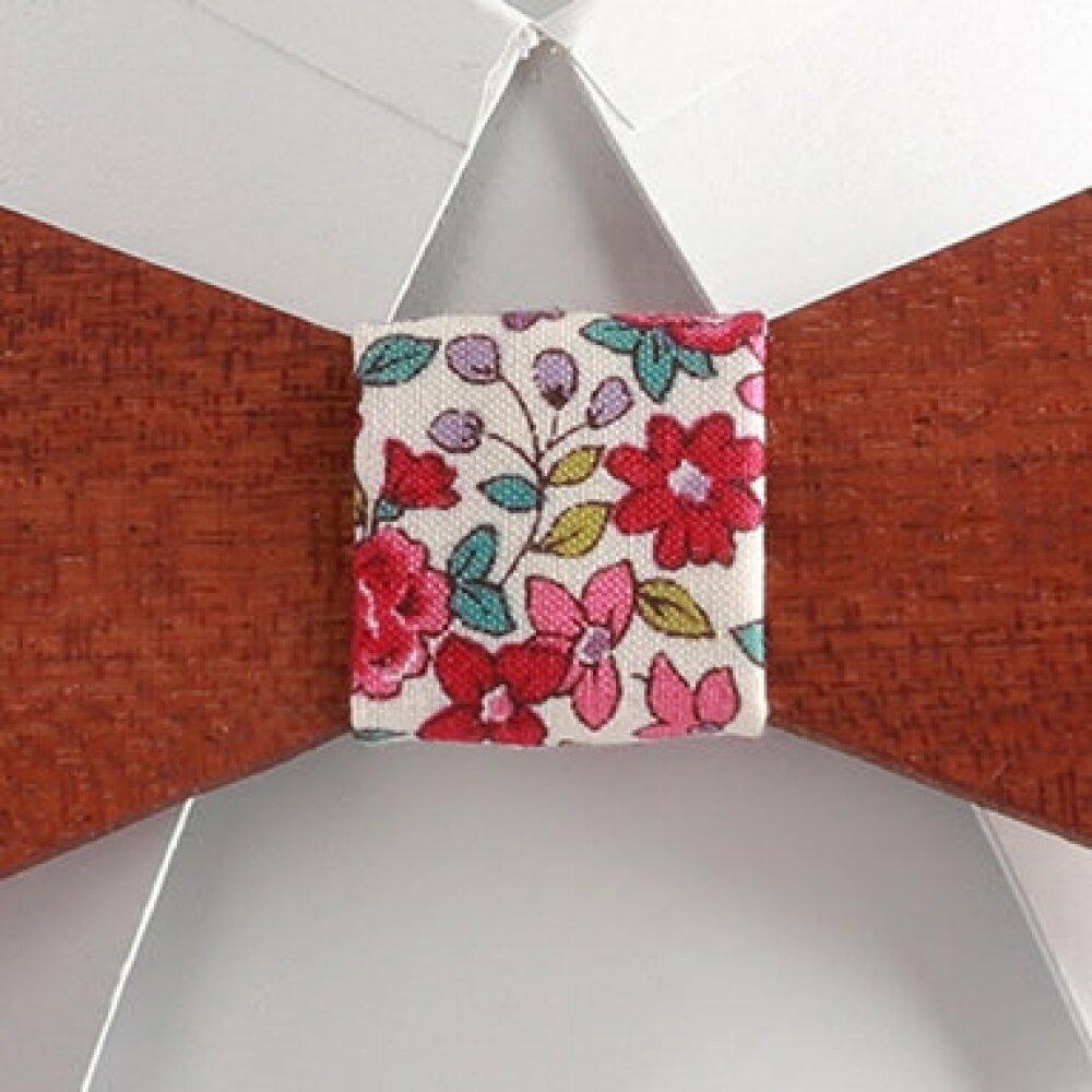 Noeud papillon en bois tissu liberty