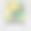 Images digitales cabochons ronds pois blanc jaune vert pois