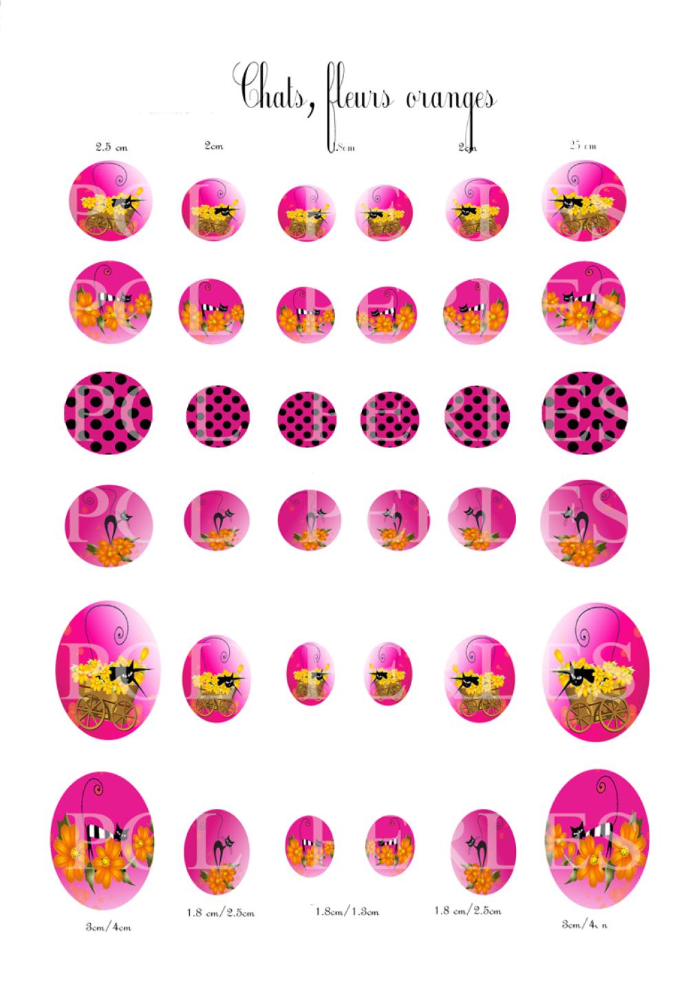 Médaillons digitales cabochons ronds et ovales *CHATS,FLEURS ORANGE*