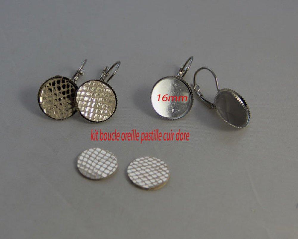 Kit boucle oreille  cuir doré dormeuse création bijoux cabochon support rond 16mm
