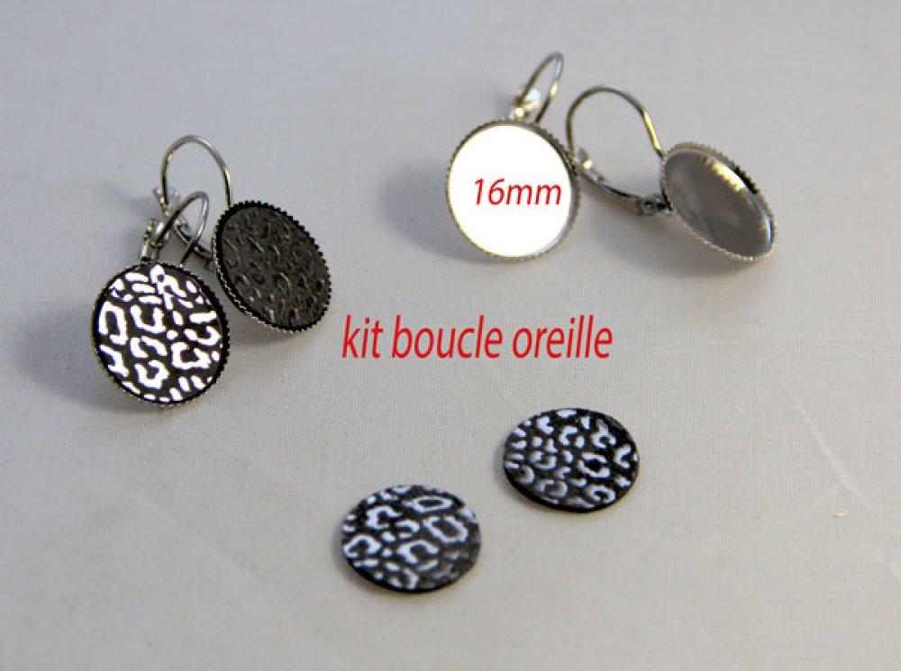 Kit boucle oreille léopard argent dormeuse création bijoux cabochon support rond 16mm