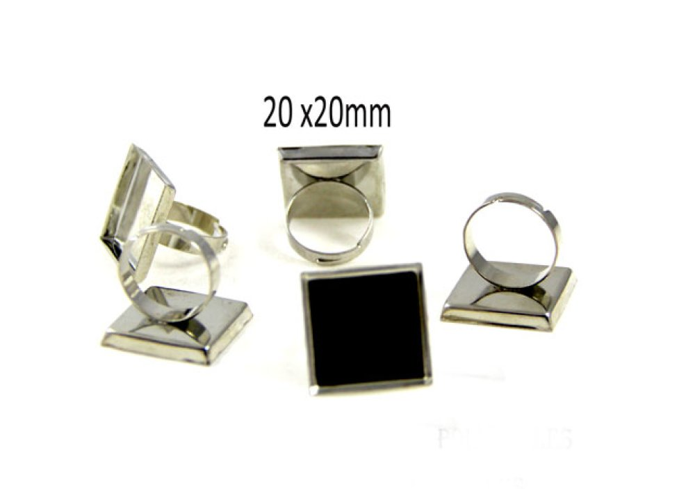 1 Support 20mm bague carré pour cabochon 20mm